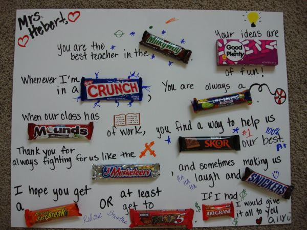Teacher Appreciation Candy Bar Idea