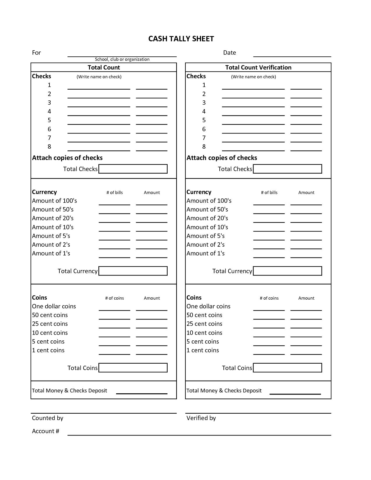 Cash Count Form Final Picture