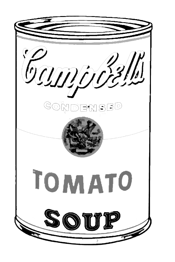 Andy Warhol tomato campbell to color Pop Art for kids