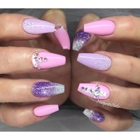 Baby pink and lavender coffin nails #gelnails ...