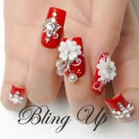 Red Nail with White 3D Nail Art Flowers and Austrian ...