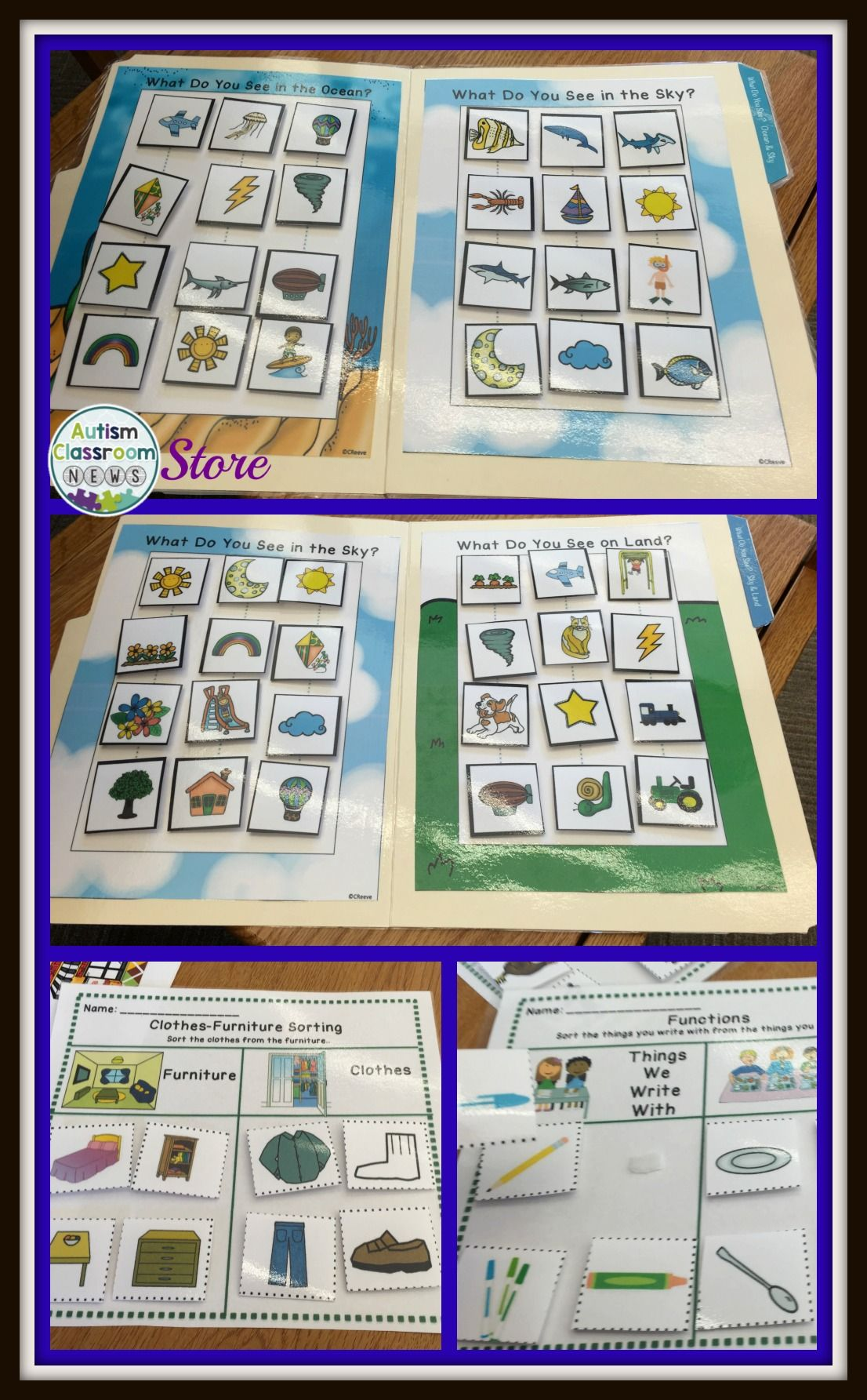 Receptive Vocabulary Sorting For Autism File Folders And