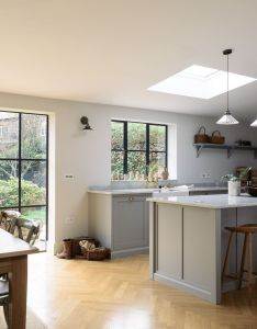 Devol real shaker kitchens are handmade in england using authentic style kitchen cabinets simple of the highest quality define this range also  beautiful wooden parquet floor complements soft grey cupboards rh pinterest