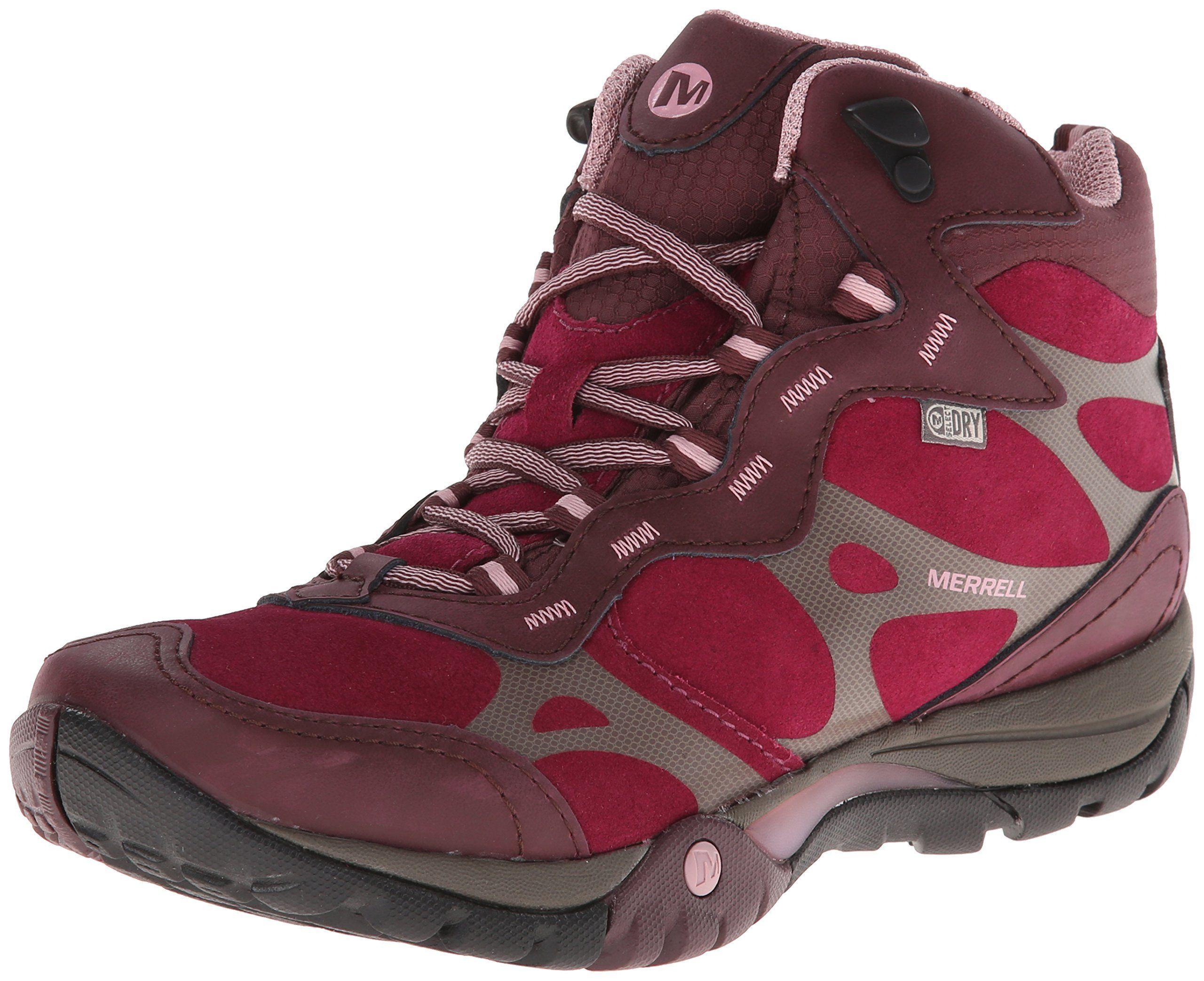 merrell womens azura carex mid waterproof hiking boot wine