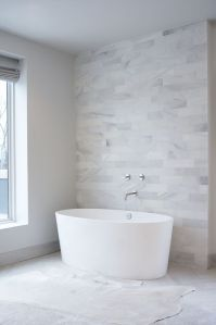 Leo Designs Chicago - bathrooms - marble clad wall, marble ...