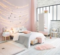 Pink, white and grey girl's bedroom