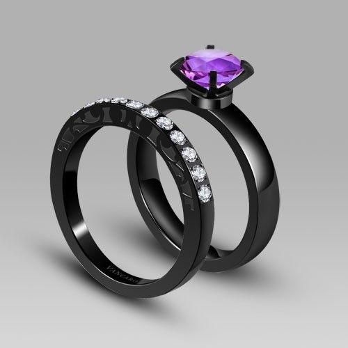 Gallery For  Black And Purple Wedding Ring  BAD ASS