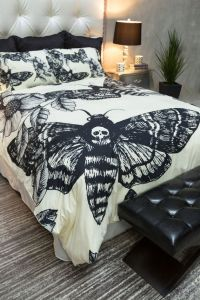 Featherweight Moth Skull Bedding - Black Skull Death Moth ...