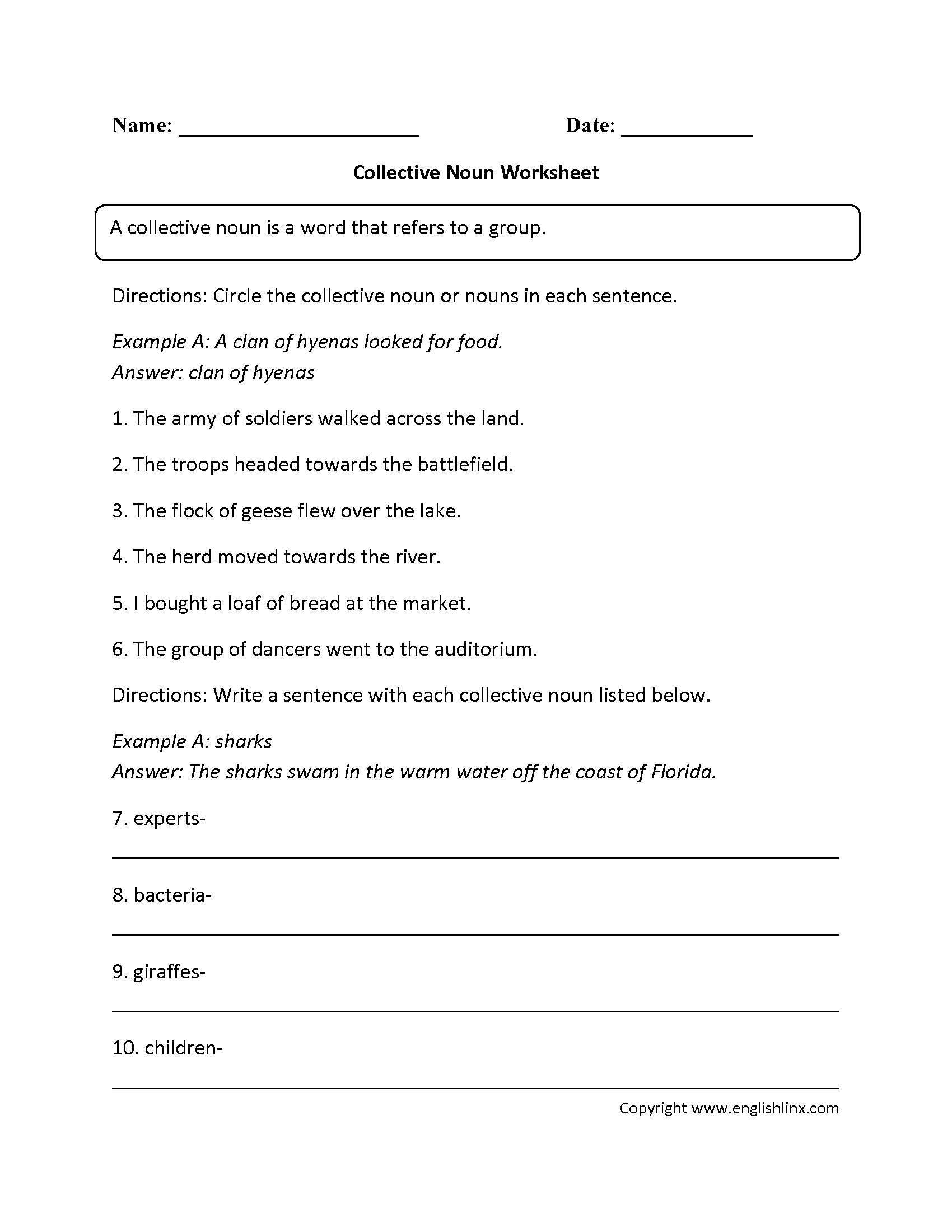 Fill In Collective Nouns Worksheet