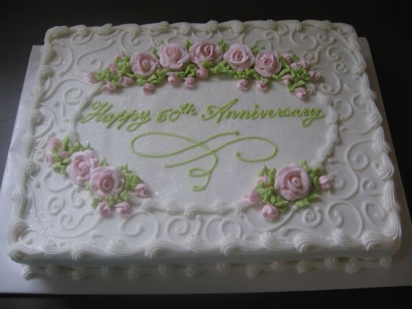 Anniversary - 11x15 Sheet Cake With Pink Royal