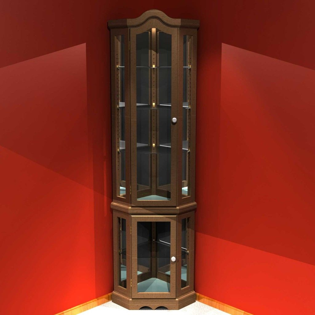 Exciting Brown Wooden Frames Curio Corner Cabinet With