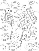 Kites Coloring Page, Fall Coloring Page, Windy Coloring