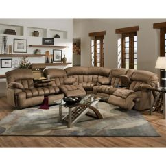 Microfiber Reclining Sofa With Drop Down Table Grey Velvet Corner Bed This Gorgeous Comfortable 3 Piece Sectional