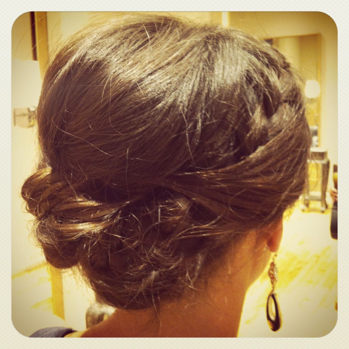 Bridal hair updo Braid and twist with loose messy bun