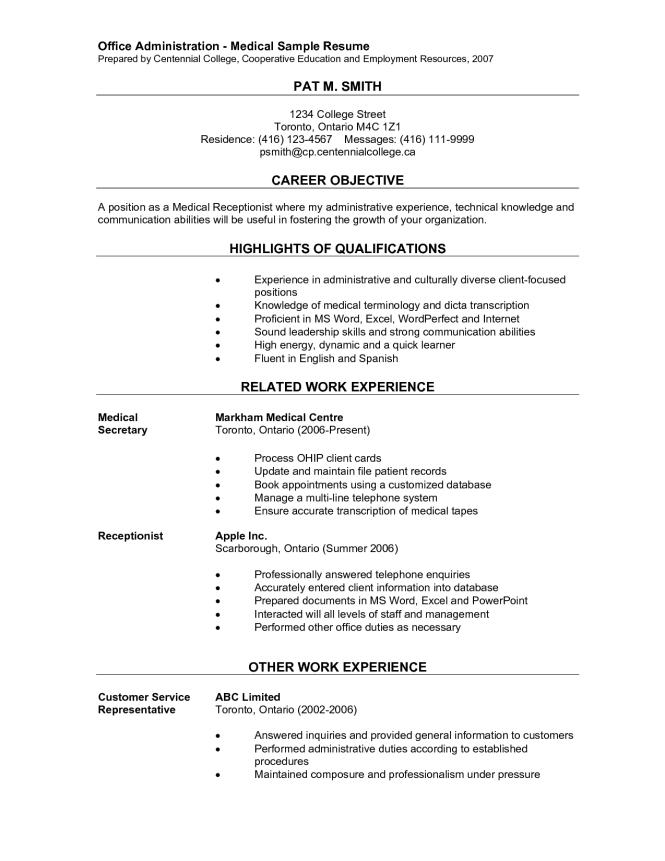 Office Administration Medical Sample Resume Prepared Centennial
