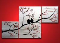Love Birds in Tree Brance, ORIGINAL Large Wall Art 40 x 24 ...