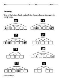 Factoring and Greatest Common Factors review worksheets