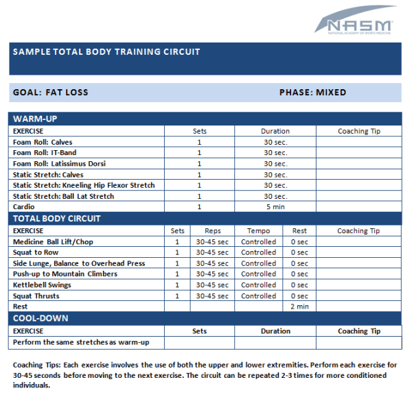 Sample Total Body Training Circuit NASM Blog NASM