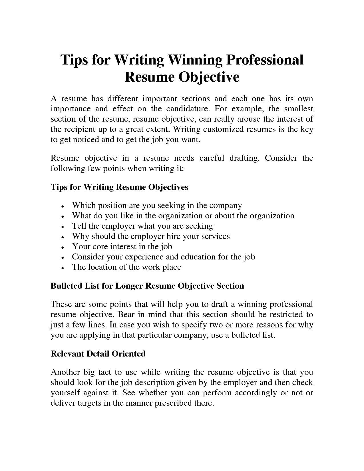 Best Way To Write An Objective For A Resume Professional Resume Objective Samplesprofessional Resume