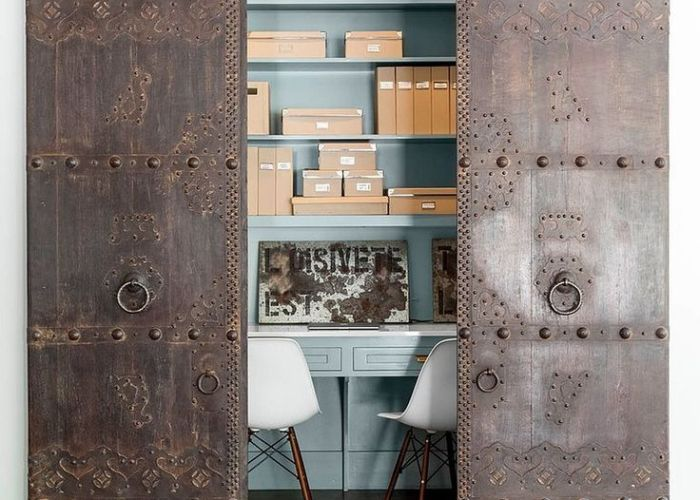 Space savers at work home offices with sliding barn doors also