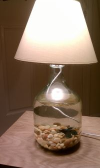Fish bowl lamp I made from a wine jug!