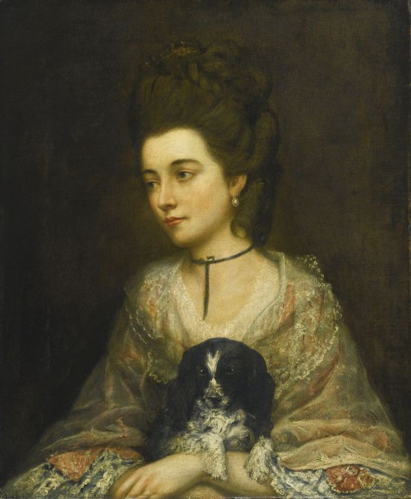 "Follower Of Thomas Gainsborough . Portrait Lady Holding Spaniel Oil Canvas 30"" X"