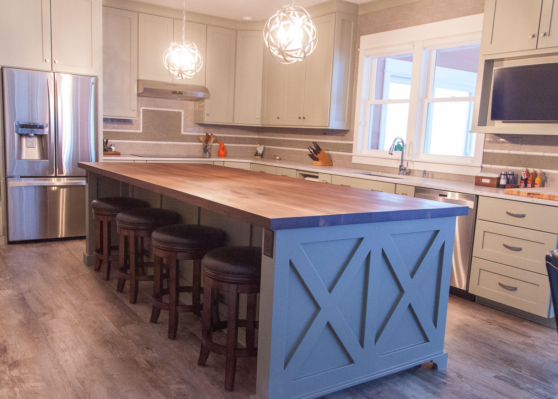 butcher block top kitchen island remodeling cabinets farmhouse chic sleek walnut countertop