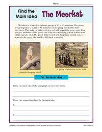 Main Idea And Supporting Details Worksheets 4th Grade Pdf ...
