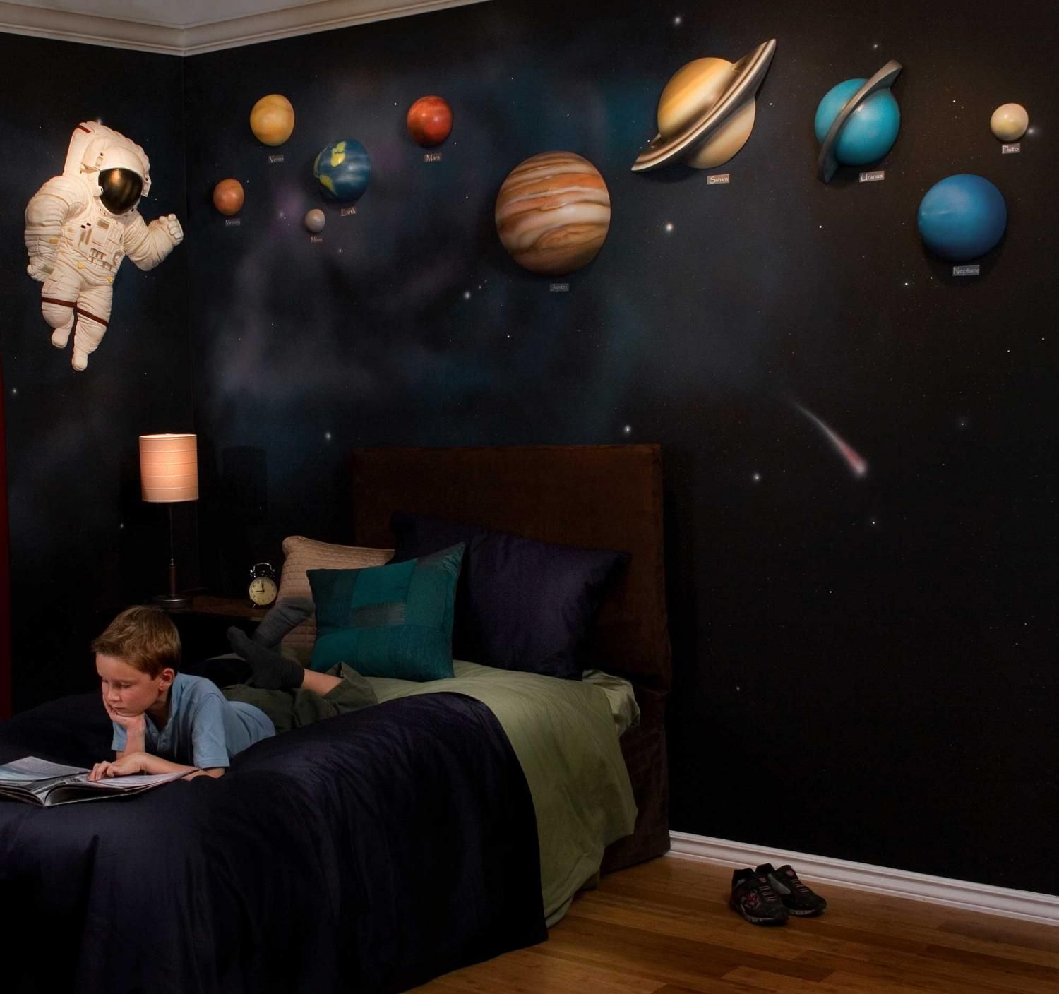 Solar System With Space Astronaut 3d Wall Art Decor By