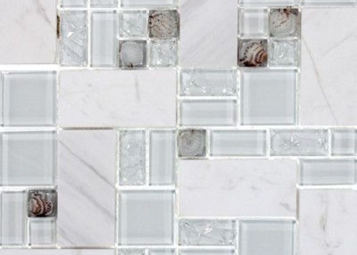 Giorbello venetian random sized glass and stone mosaic tile in white marble also