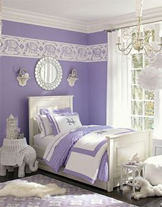 S Dreamy Bedroom Paired With Bright White The Color Lavender Looks Even More Elegant In This Elephants Add To Exotic Feel