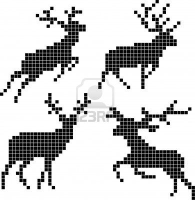 Pixel Silhouettes Of Deers Royalty Free Cliparts, Vectors