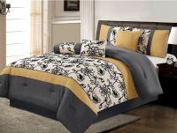 7 Piece Luxury Yellow / Black / White / Grey Floral ...