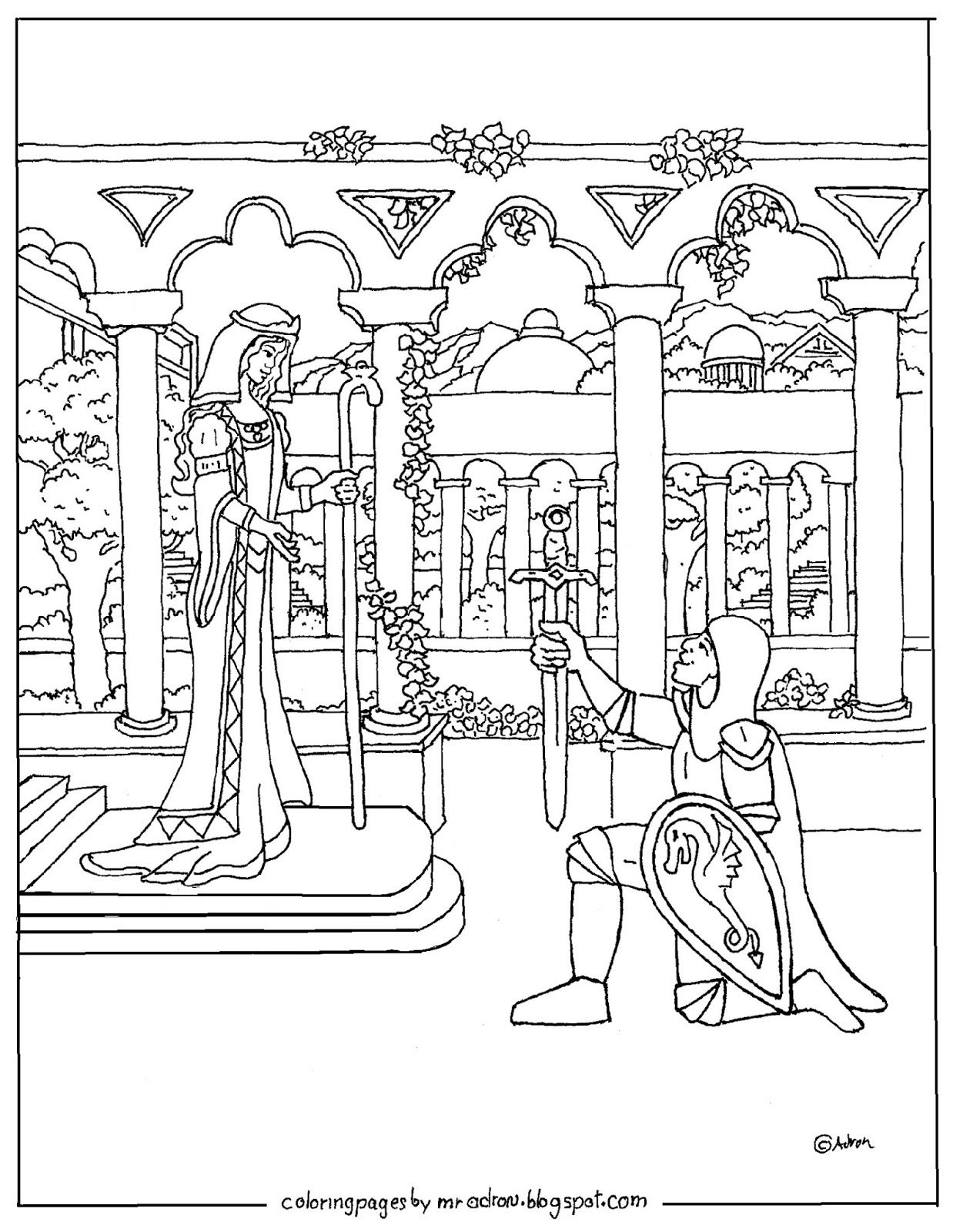 Coloring Pages For Kids By Mr Adron Printable Knight And