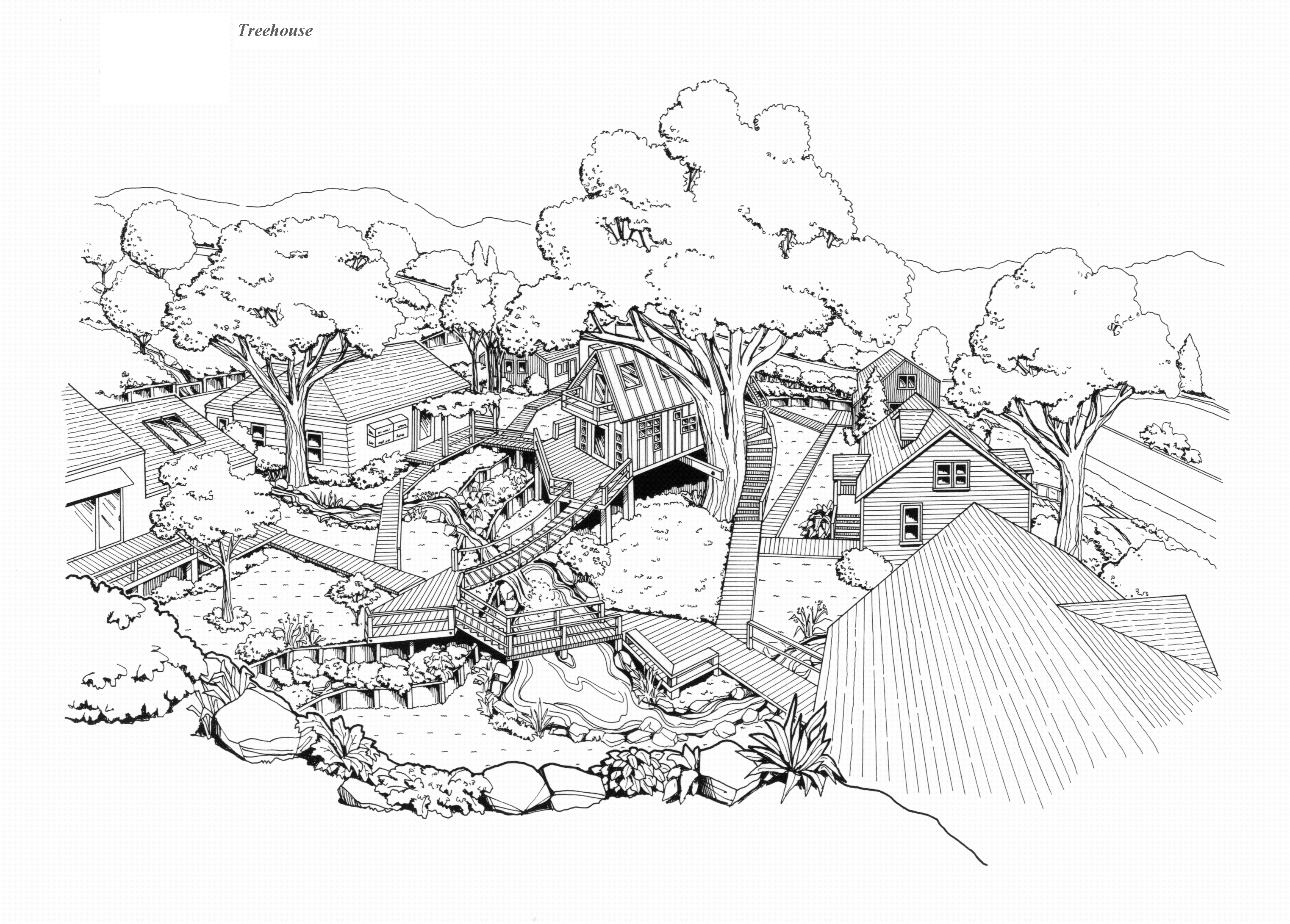 Shelter And Roof Playground Tree House Sketch Design With