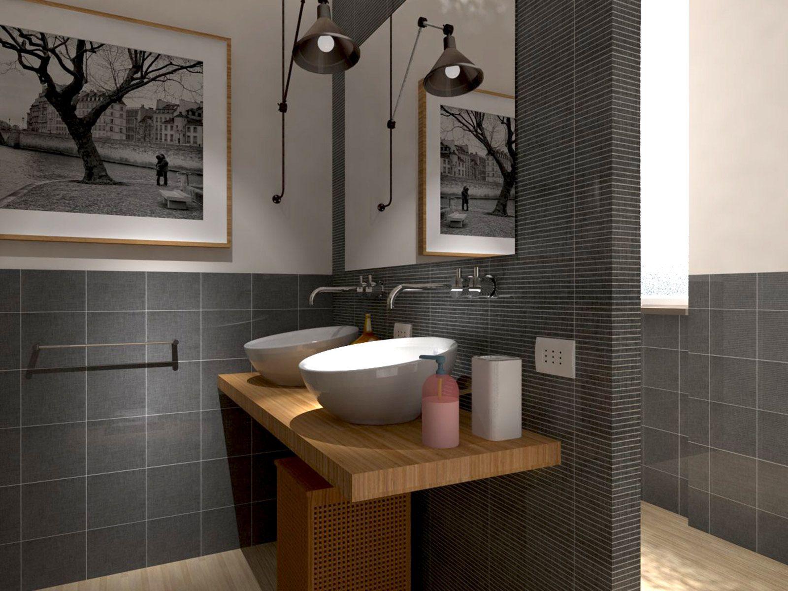 Rifare il bagno Progetto in 3D con lavatrice nascosta  Cose di Casa  casa  Pinterest