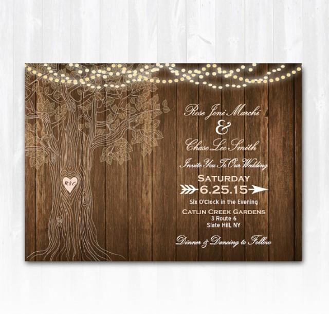 Rustic Wedding Invitation Blank Template