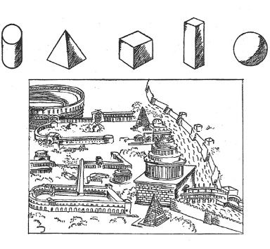Sketch by Le Corbusier of Roman ruins and primary solids