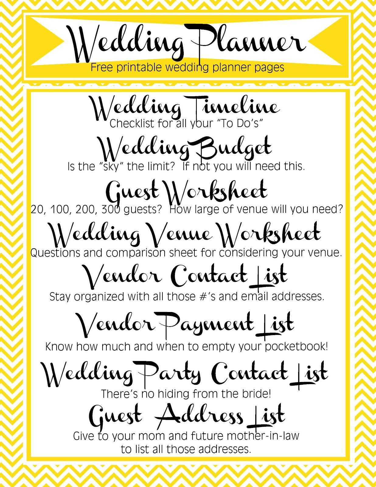 Free Printable Wedding Planner Includes Timeline Budget Guest Worksheet Used To Determine Size