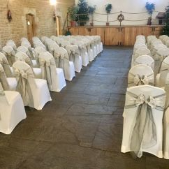 Chair Covers Yeovil Chicco Travel High Instructions Ivory With Dark Silver Sashes And Lace