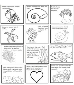 A House For Hermit Crab by Eric Carle Sequencing Text