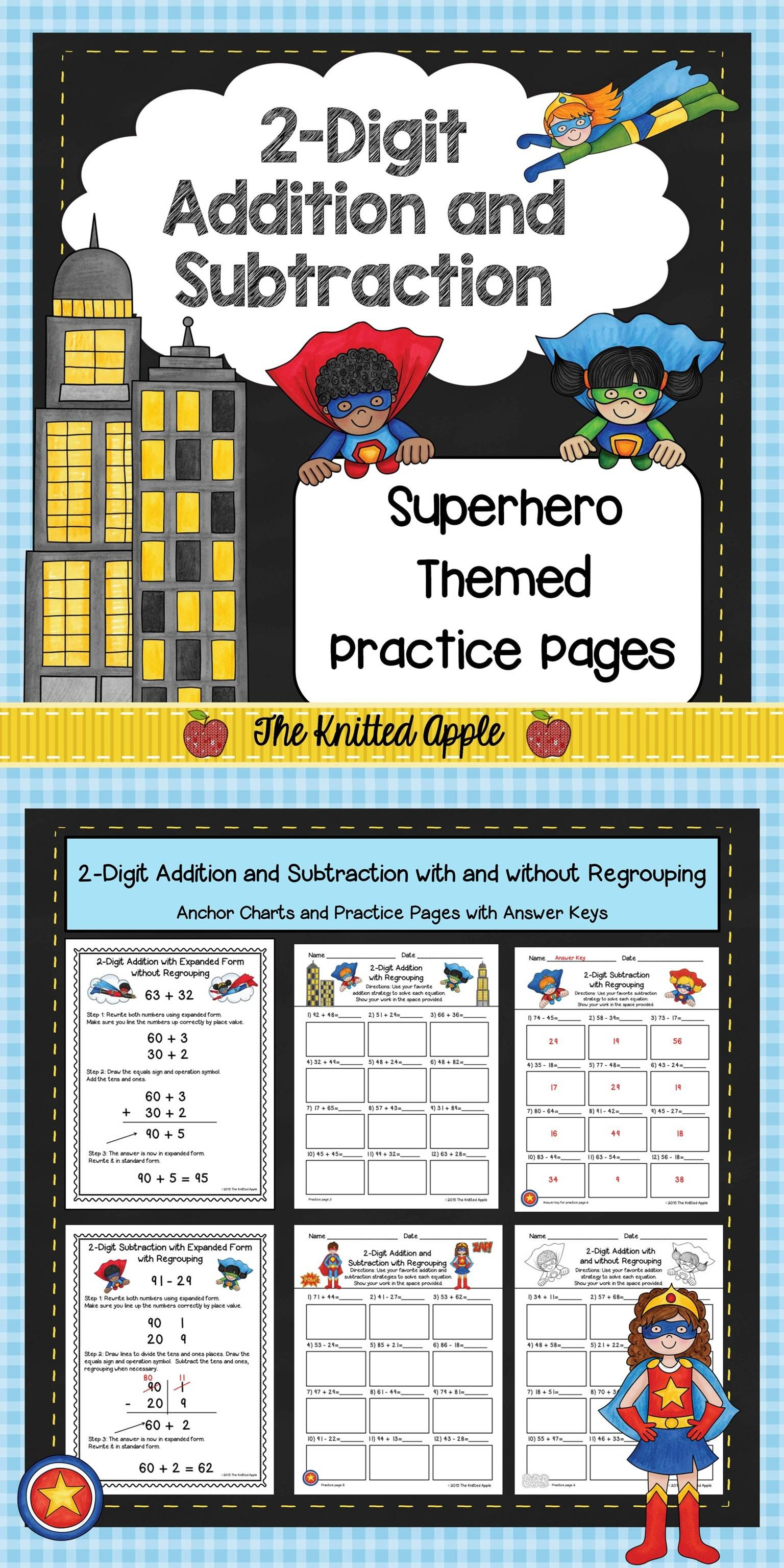 2 Digit Addition And Subtraction With And Without Regrouping Superhero Theme