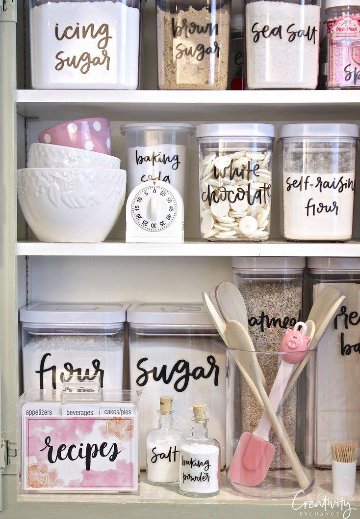 Printable hand lettered pantry labels. Print them out on clear label paper. Such a