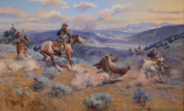"""Cm Russell Cowboy Artist - """"loops And Swift Horses"""