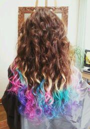 colorful dip dye hair color