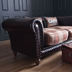 Mixing Leather Sofa Fabric Chairs Used Sectional Sofas Re Upholstered In Tartan Plaid And This Is