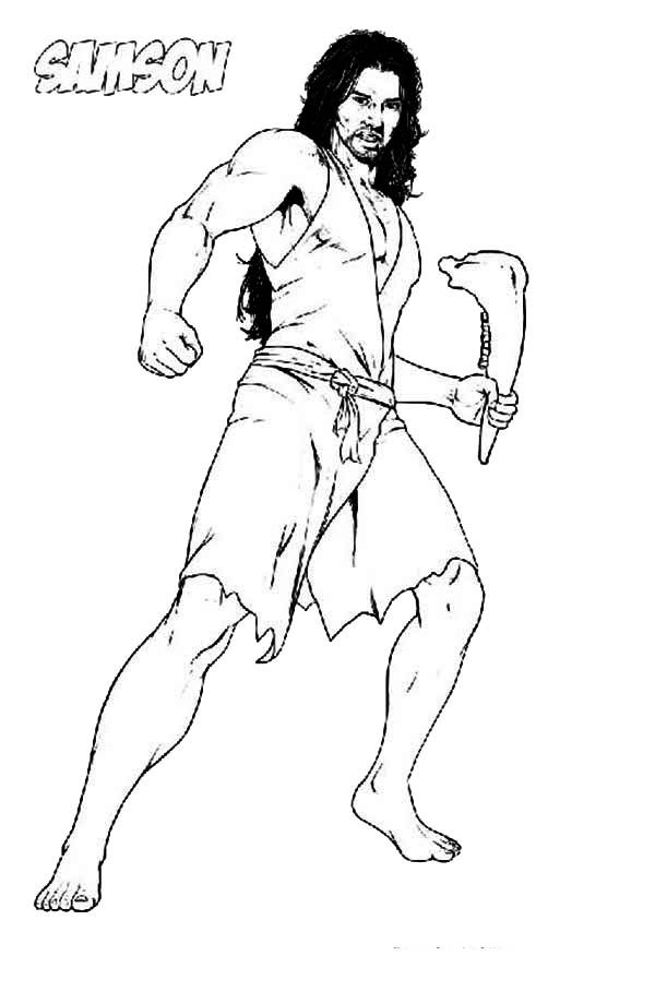 Picture of Samson with Jawbone of an Ass Coloring Page