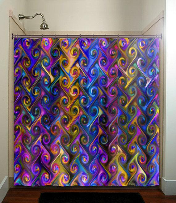 metallic style multi color rainbow chevron shower curtain