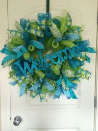 Spring Wreath, Summer Wreath, Deco Mesh Wreath, Welcome ...