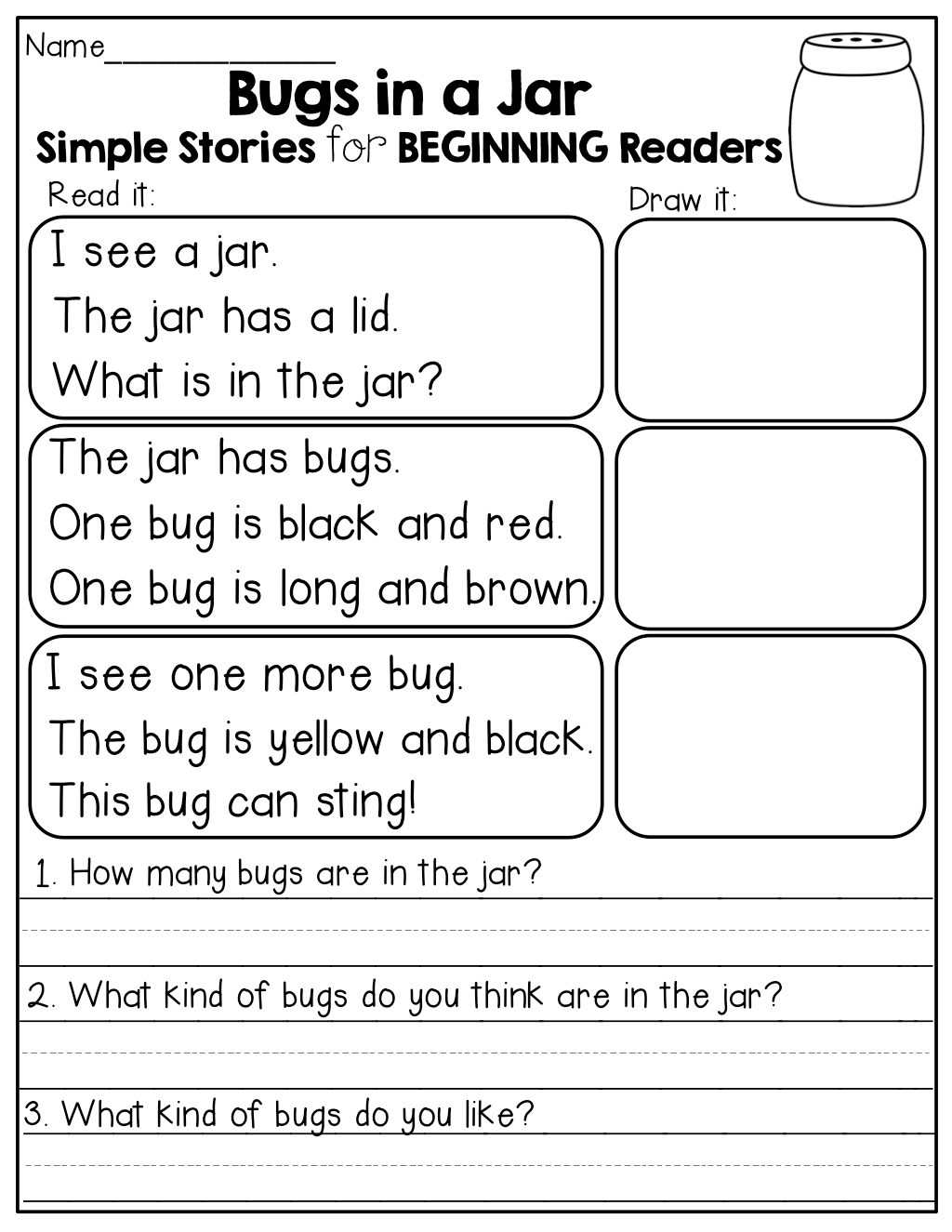 Simple Stories For Beginning Readers Read It Draw It And Answer Comprehension Questions